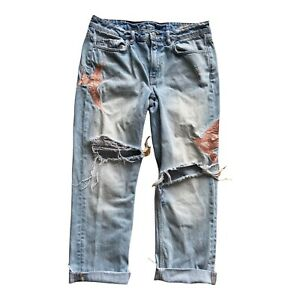 All Saints Blue Bird Embroidered Boyfriend Jeans Alana 28 W 32 L 27 Crop 10 12