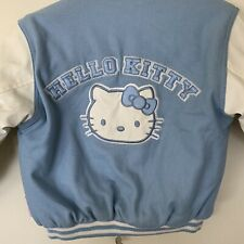 Sanrio Hello Kitty Reversible Varsity Bomber Jacket Sky Baby Blue Size M 5/6