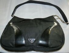 Authentic Prada Milano Black Leather & Nylon Hobo Shoulder Bag Purse