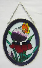 Purple Glass Sun Catcher & Silver Tone Surround With Chain, Butterfly & Flowers