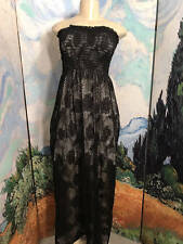 MONACO L BLACK SHEER FLORAL LACE SHIRRED IVORY LINED STRAPLESS FULL-LENGTH DRESS