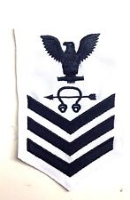 US NAVY : E6 RATING PATCH- WHITE- SONAR TECHNICIAN
