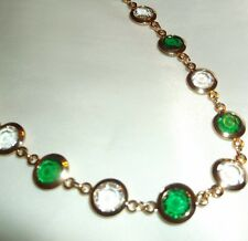 "20"" Emerald Green  and Clear Swarovski Crystals on 14k Gold (bonded) GORGEOUS"