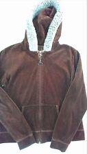 Active Velour Jacket Womens SZ M/L Faux Fur Hoodie Brown Lightweight Long Sleeve