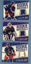 Lot of 3 Diff 2007-08 Upper Deck Hockey Rookie Materials Callahan Bernier Staal