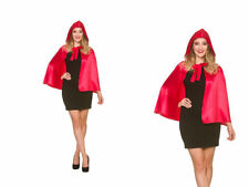 Short Soft Satin Red Riding Hood Cape & Hood Fairytale Halloween Fancy Dress