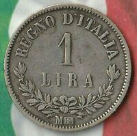 1863 Kingdom of Italy 1 Lira (M-BN) ~ 83.5% Silver- In Pretty Good Condition~