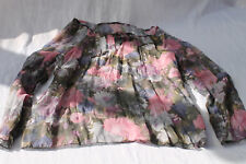 Crincle Bluse Shirt Crash Blumen mehrfarbig bunt rosa lila oliv L 40