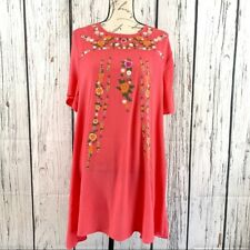 Umgee Womens Floral Embroidered Boho Chic Shift Dress Size L