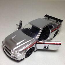"2002 NISSAN SKYLINE GT-R R34 JDM Tuners 5.25"" DieCast Pull Back 1:32 Jada Toy SL"