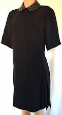 CHRISTIAN DIOR NAVY BLUE SEQUIN/BEADED COLLAR APPLIQUE SIDE PLEATED DRESS US 14