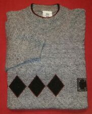 Vintage Mens Sz L classic line L & G Knitwear Wool BLEND GRAY ARGYLE Sweater
