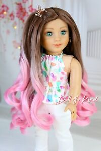 American Girl doll PINK COCOA OMBRE Premium wig Fits most 18''dolls Blythe OG
