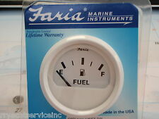 "FUEL GAUGE FARIA DRESS WHITE 678-13101 2"" MARINE BOAT GAS TANK GAUGE UNIVERSAL"