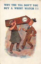 POSTCARD  COMIC  FURNITURE REMOVER - GRANDFATHER CLOCK - WRISTWATCH