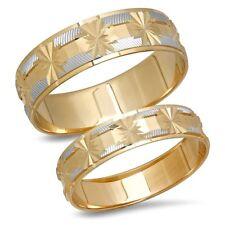 14K Gold Snowflake Star His Hers Bride Groom Matching Wedding Band Ring Set