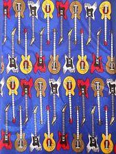 Electric Guitar Tie Rock & Roll Musician Silk Mens Novelty Blue Necktie
