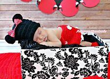 Black Minnie Bow Hat Tail Bloomer Newborn Baby Photo Prop Costume Set NB-6Month