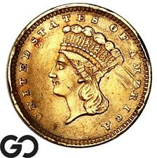 1857 Gold Dollar, $1 Gold Indian Princess, Details Damage, Collector Coin!