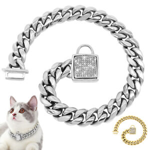 Dog Cat Choke Check Chain Collars for Small Dogs Pet Puppy Cuban Link Necklace