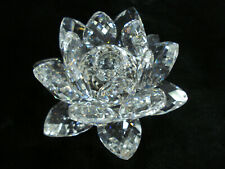 "Swarovski Crystal 3"" Water Lily Lotus Flower Candle Holder Used as is Taper"