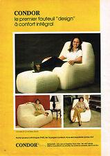 PUBLICITE ADVERTISING 114  1980  CONDOR   fauteuil DESIGN