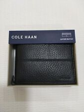 Mens cole haan wallet black leather billfold gift boxed originally $78.00