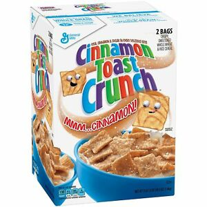 GENERAL MILLS CINNAMON TOAST CRUNCH CEREAL SEALED BAGS FOR FRESHNESS 49.5oz. BOX