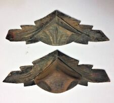 Antique Carved Wood, Oak, Federal Pattern, Americana, Appliqués Lot of 2
