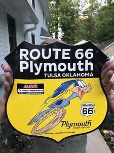 1968 VINAGE ROUTE 66 ROAD RUNNER PORCELAIN GAS SIGN
