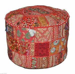 Handmade Patchwork Round Foot Stool New Indian Cotton Vintage Ottoman Pouf Cover