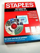 Partially Used STAPLES CD LABEL KIT, 9 Sheets CD & Spine Labels, 24 Jewel Case