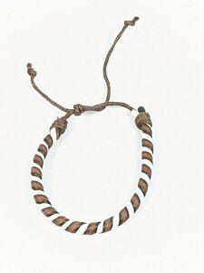 Artisan Brown White Leather Twist Adjustable Bracelet