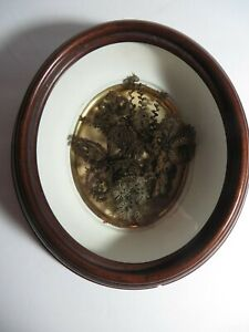 Victorian Mourning Hair Art Flower Wreath Small Oval Walnut Shadowbox Frame