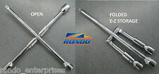 "Folding 4 Way compact lug wrench w 1/2"" DRIVE ++ uses than tire iron SAE Metric"