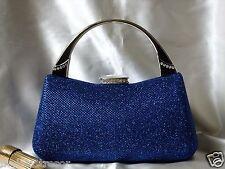 DAZZLING BLUE W. RHINESTONES BROCADE EVENING PURSE/CLUTCH/WEDDING BAG