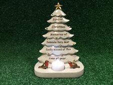 SADLY MISSED FESTIVE CHRISTMAS TREE, GRAVE MEMORIAL ORNAMENT, CEMETERY TRIBUTE