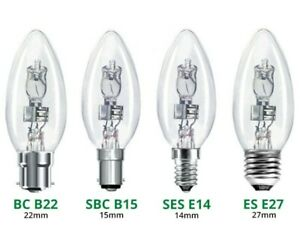 Branded Eco Halogen Dimmable 35mm Candle Clear Light Bulb Lamp 18W 28/30W 42W...