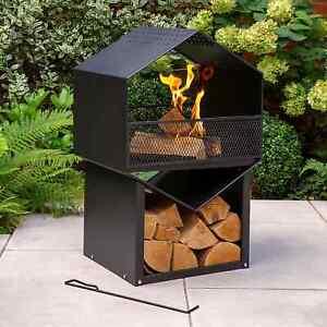 Tall Hexagonal Fireplace Set (Log Burner Fire Pit Chimenea Garden Heater Stove)