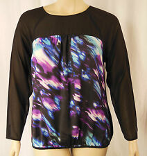 Table Eight Black Multi Print Long Sleeve Blouson Tunic Top Size 18 BNWT # W78