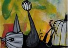 ACEO ORIGINAL Painting~CROW~GYROSCOPIC EFFECT PUMPKIN~PATCH~OUTSIDER ~SMOODY