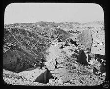 Glass Magic Lantern Slide GRANITE QUARRIES ASSOOAN C1890 EGYPT