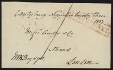 1827 GB Stampless penny post cover front w/To Pay 1d Only cancel to Coutts bank