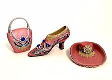 Miniature Shoe Hat Handbag Collectible Rhinestones Cobalt Blue Cabocon Stones
