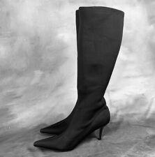MARTINEZ VALERO Boots Kitten Heel Pointed Toe Stretch Nylon Knee High 7.5 FLAW