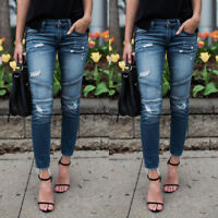 Women Denim Skinny Pants Ripped Destroyed Frayed Stretch Jeans Slim Fit Trousers