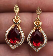 18K Yellow Gold Filled - Hollow Waterdrop Topaz/Ruby Women Luxe Party Earrings
