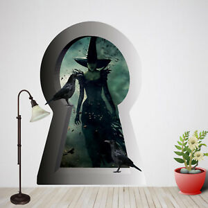 Halloween Gothic Witch Wall Stickers Art 3D Poster Decal Mural Home Decor RE9