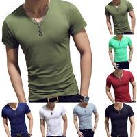 Summer Men Gym Tight Tops T-Shirt Short Sleeve Slim Fit V-Neck Casual  M-2XL