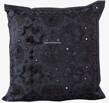 Indian New Gift Black Cushion Cover Pillow Cotton Mirror Handmade Home Decor Art